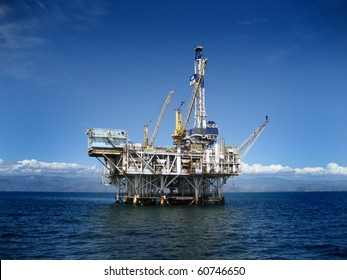 Large Pacific Ocean offshore oil rig drilling platform off the southern coast of California. Circa 2007.