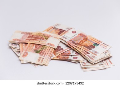 A large pack of Russian five thousand ruble banknotes