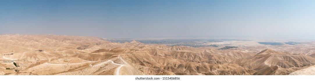 Large Panorama of the Jordan Valley Desert With a View of Jericho and The Dead Sea