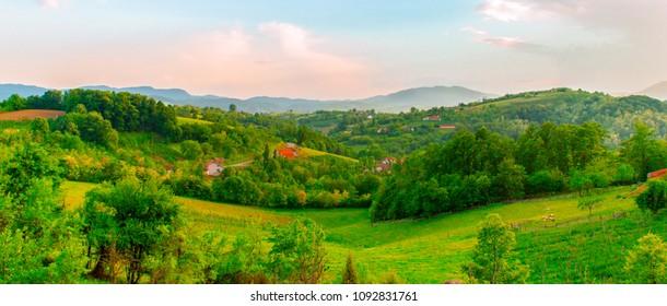 Large panorama of serbian village, near town of Valjevo. Mountain region, Serbia, Europe.