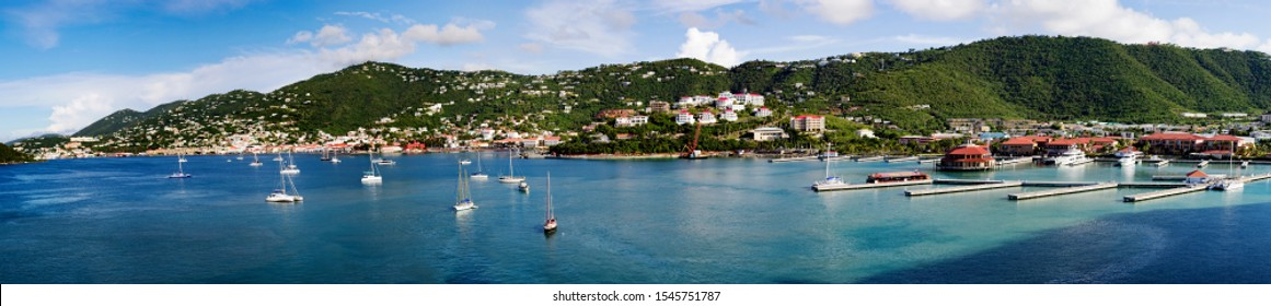 Large panorama of St. Thomas, USVI from the approach on the cruise ship.