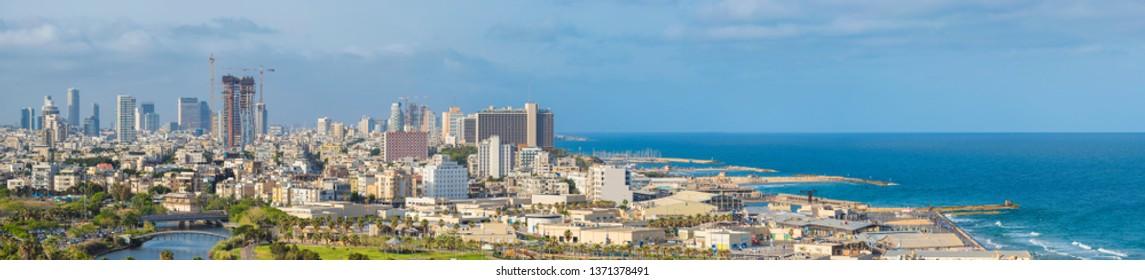 Large Panorama Of Tel Aviv Skyline,  Tel Aviv Cityscape Large Panorama At Day, Israel, View On Tel Aviv Port And Sea