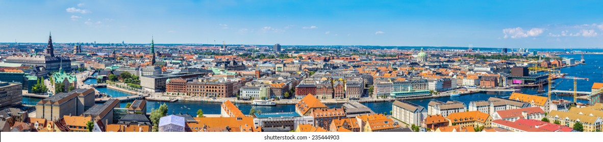 Large panorama view of Copenhagen in Denmark
