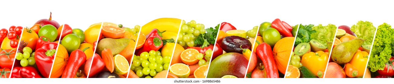 Large panoramic collection fruits, vegetables and berries separated by sloping lines isolated on white background.