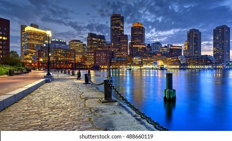 Large panoramic view of Boston skyline at night
