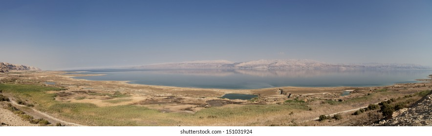 A Large panoramic view of the dead sea as seen from Israel's side