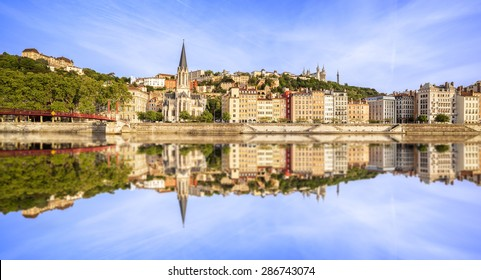 Large panoramic view of Lyon with Saone river