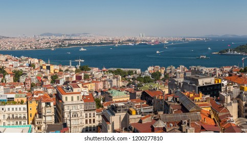 A large panoramic vista of Istanbul, Turkey looking out over the Bosporous towards the Asian side of the city.