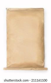 large paper kraft bag isolated on white