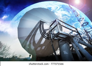 large parabolic antenna for communication with a satellite
