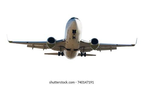 Large passenger plane isolated on white background