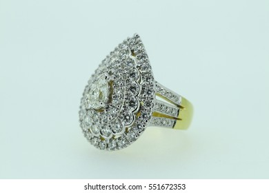 large pear shaped diamond  ring isolated on white background