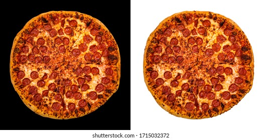 Large Pepperoni Cheese Pizza Isolated on White and Black Background. Selective focus.