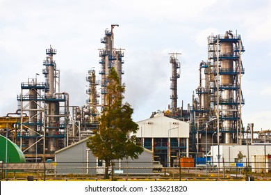 Large petroleum refinery. Technological equipment and production casing