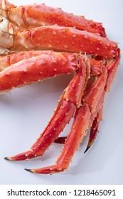 Large phalanx of crab legs Fresh boiled crab meat.