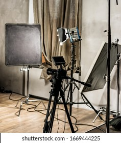 Large photo studio with lighting equipment for shooting movies or photos