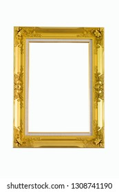 Large picture frame with gold beautiful white background.