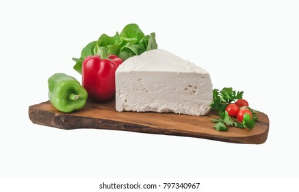 Large piece of feta cheese on wooden board. Clipping path.