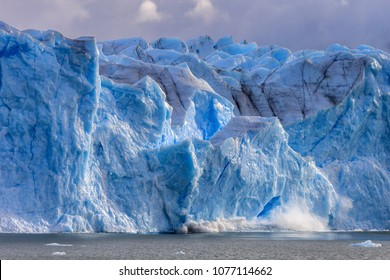 Large piece of ice collapses  at the Perito Moreno Glacier, Patagonia, Argentina