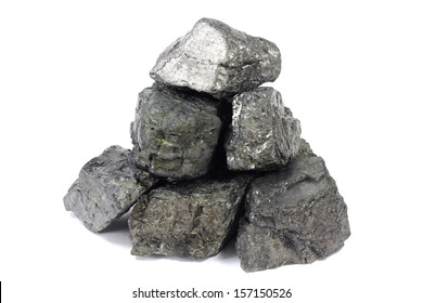 large pieces of coal on a white background