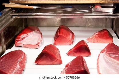 Large pieces of fresh tuna