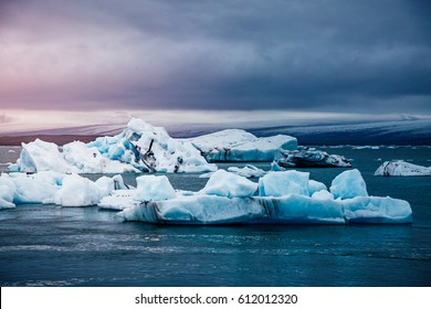 Large pieces of the iceberg. Picturesque and gorgeous scene. Location place Vatnajokull national park, Europe. Popular tourist attraction. Wonderful image of wallpaper. Explore the world's beauty.