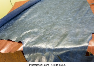 large pieces of leather for products, multi-colored natural calfskin, multi-colored, leather workshop