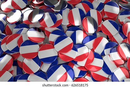 Large pile of Badges with France flag. 3D rendering