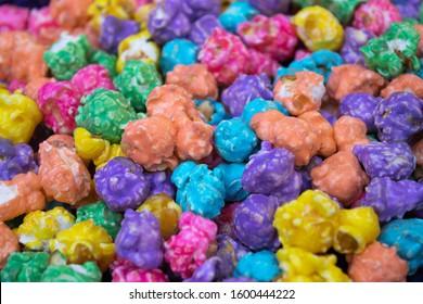 large pile of bright multi colored popcorn