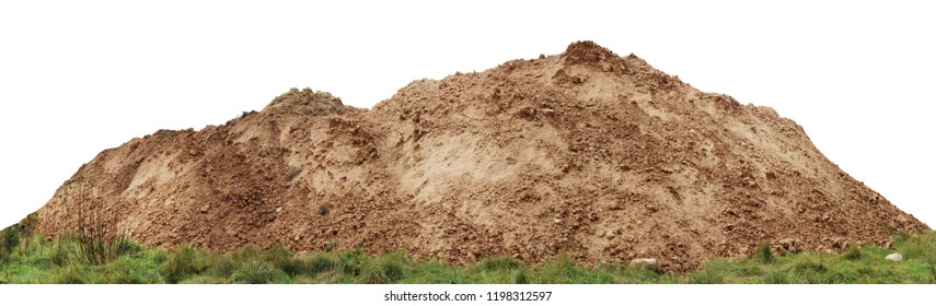 A large pile of construction sand  on forest grassy site. Isolated on white  panoramic collage from several outdoor shots