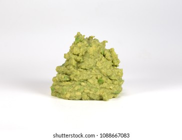 Large Pile of Guacamole on White Background