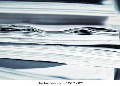 large pile of magazine closeup