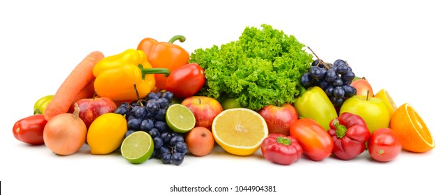 Large pile ripe fruits and vegetables isolated on white background for project.