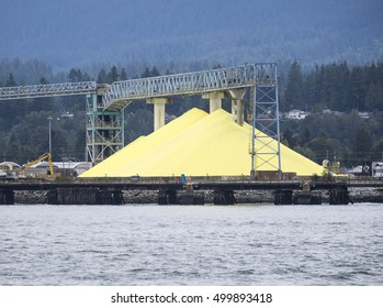 A large pile of sulphur powder stockpiled at a depot ready for use.