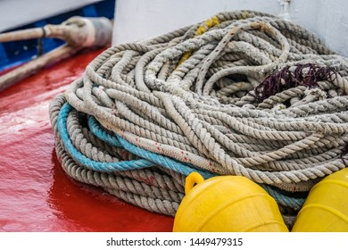Large pile of thick ropes on fisherman boat deck, Zante Island, Greece