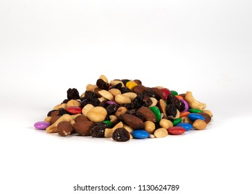 Large Pile of Trail Mix on White Background