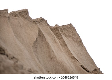 Large piles of construction sand and gravel used for asphalt production and building, isolated on white background. Limestone quarry, mining rocks and stones