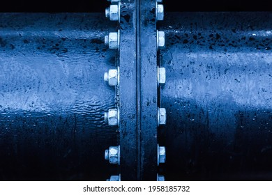 Large pipe connection with a large number of bolts and nuts enclosed on it. Pipeline. Pipeline state transportation system.