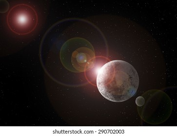 Large planet with moon floating in outer space with a bright star causing a lens flare