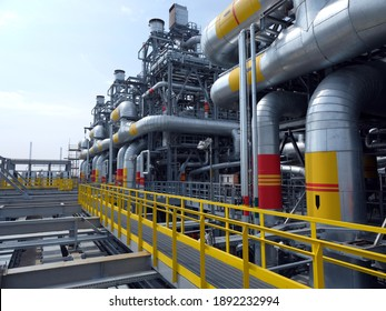 A large plant in Siberia for the processing of hydrocarbons. Polymer products. High pressure pipelines. Artistic noise. From the editor. Tobolsk; Russia; July; 29; December 2019
