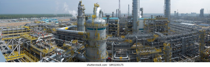 A large plant in Siberia for the processing of hydrocarbons. Beautiful panorama. High pressure pipelines. From the editor. Tobolsk; Russia; July; 29; December 2019