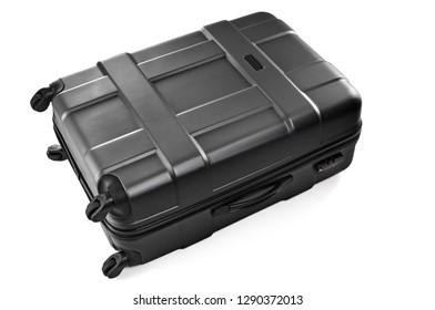 Large plastic black suitcase on wheels for traveler luggage