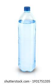 large plastic bottle with mineral water on a white background