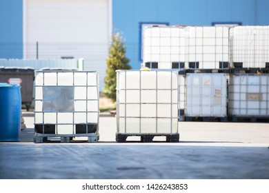 Large plastic containers in the factory,