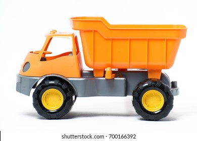 A large plastic toy truck isolated on white background