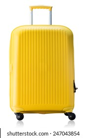 Large polycarbonate suitcase isolated on white