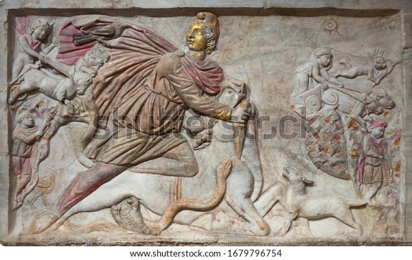 Large polychrome tauroctony relief,from the mithraeum of S.Stefano Rotondo. Rome, Italy