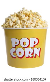 Large popcorn bucket on white background
