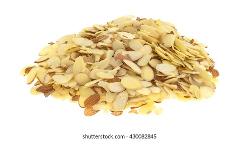 A large portion of sliced almonds isolated on a white background.