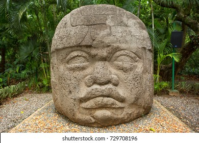 large pre-hispanic olmec basalt carved head in the La Venta archeological park in Villahermosa Mexico
